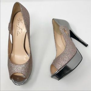 Marc Fisher Pewter Rainbow Glitter Platform Heels